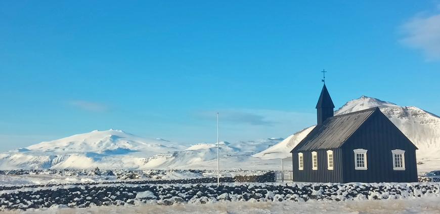 Snæfellsjökull glacier and black church