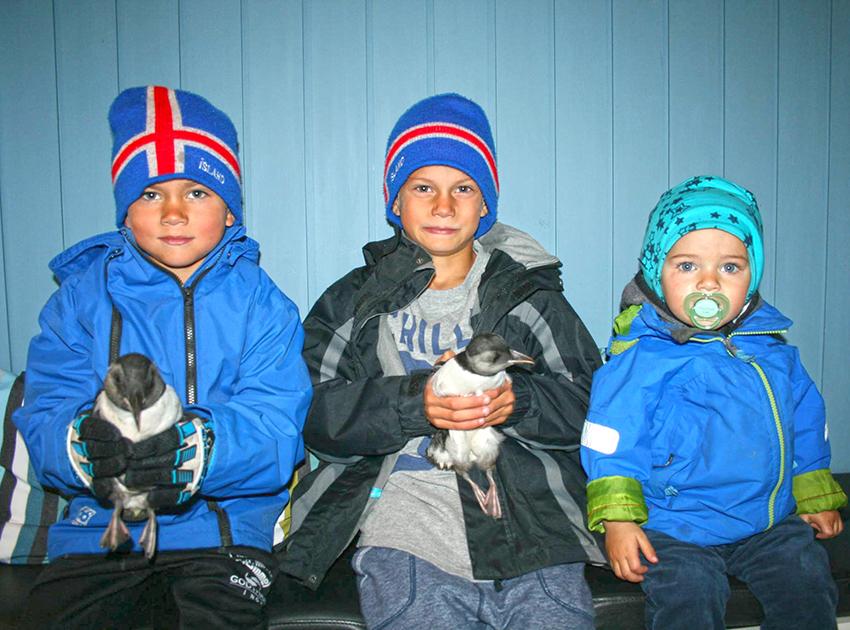 kids holding puffins birds