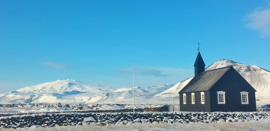 Snæfellsjökull glacier and black church