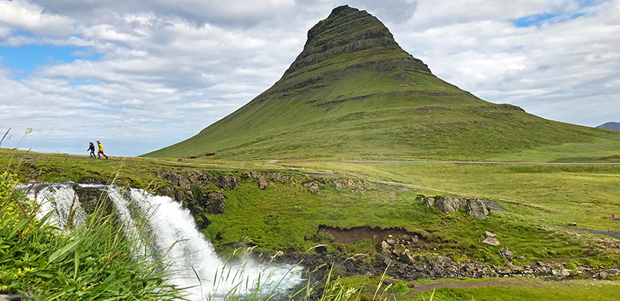 Kirkjufellsfoss waterfall is among stops on Snæfellsnes private tour