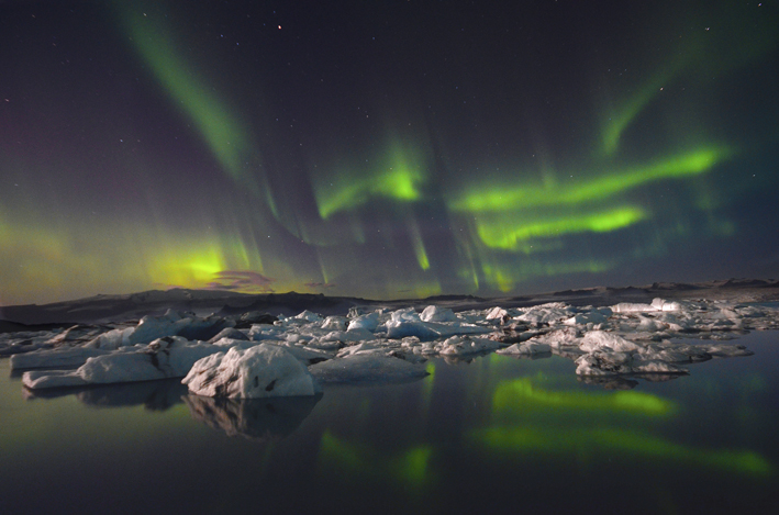 Northern Lights, the Glacier Lagoon and ice bergs
