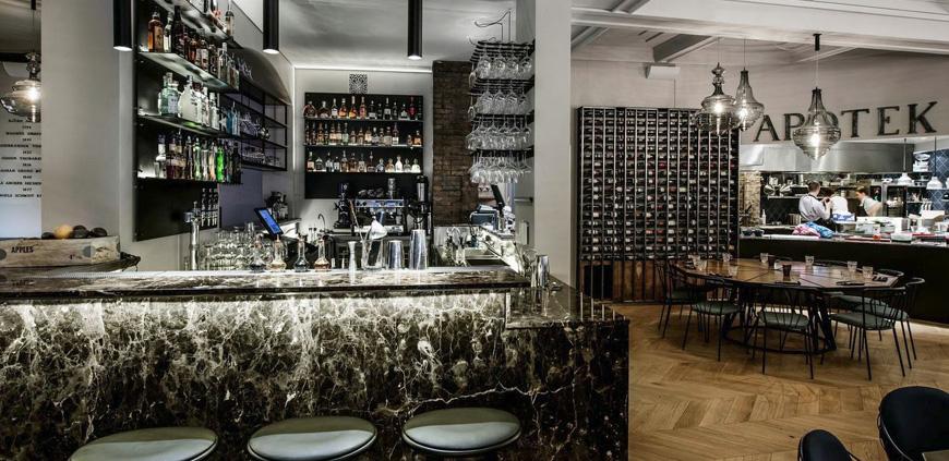 Inside Apotek restaurant
