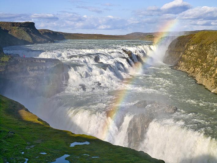 Gullfoss beautiful waterfall and a rainbow