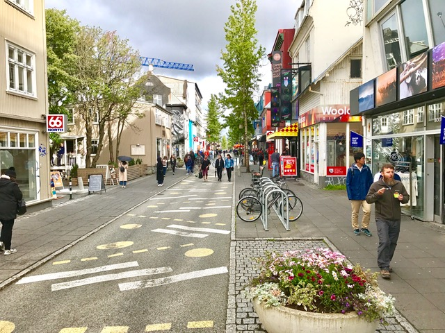 Few people on a street in Reykjavík city