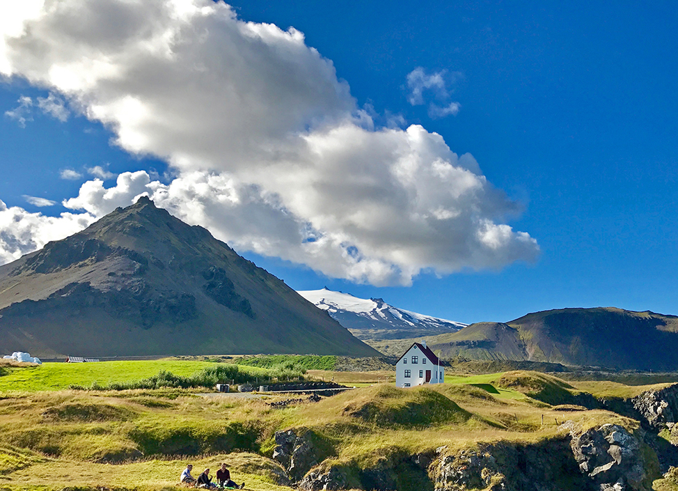 Arnarstapi and Snæfellsjokull glacier