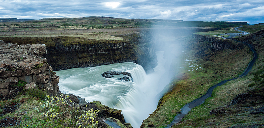 View overlooking the Gullfoss waterfall and river Hvítá