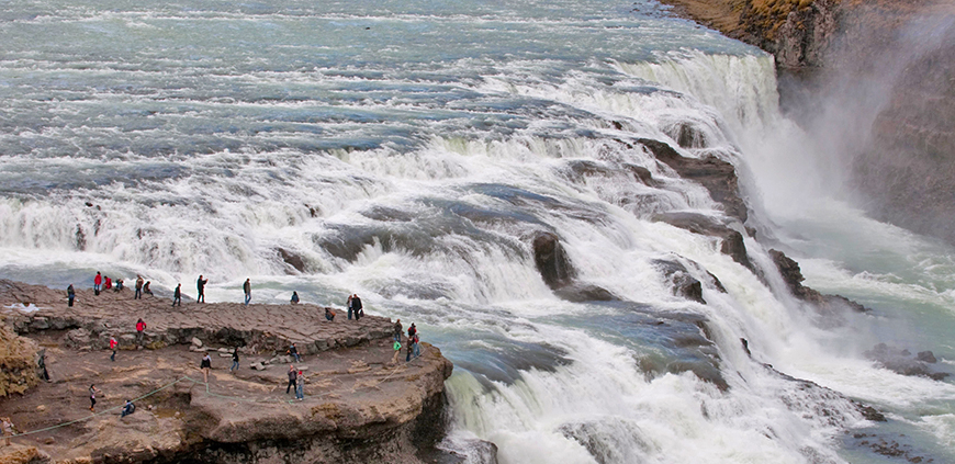 Seeing the big waterfall Gullfoss as a part of the South Coast tour