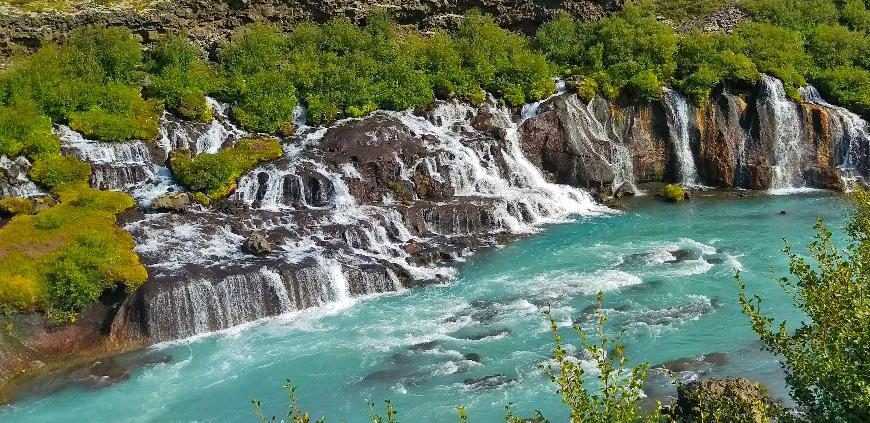 The Hraunfossar Falls