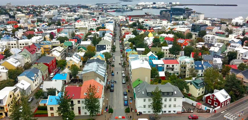 The view over the city center in Reykjavík