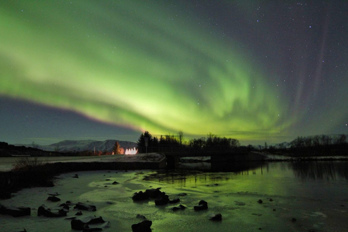 Northern Lights over the church at Thingvellir